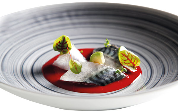 Marinated mackerel in Toscano P.G.I. Extra Virgin Olive Oil, fermented raspberry sauce and avocado pearls and mint 1